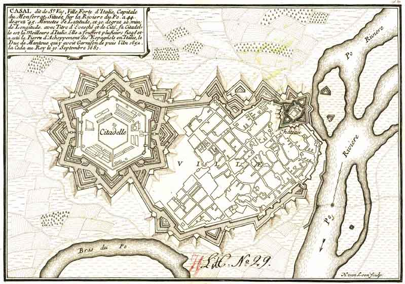 Plan of city from the 17th century designed to defend against the improving reach of canons.